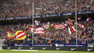 Aficionados at Atletico de Madrid stadium