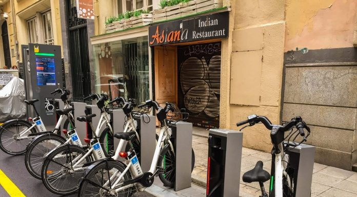 BiciMAD public bicycle rental service in Madrid station