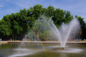 Temple of Debod Madrid garden central fountain