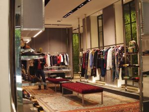 Gucci shop intrior luxury shopping in Madrid